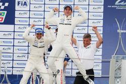 Podium: race winners Neel Jani, Romain Dumas celebrate