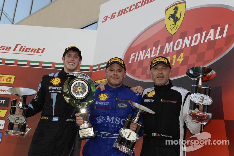 Ferrari Challenge Europe race 1 podium - Trofeo Pirelli AM: winner Tommaso Rocca, second place Ezequiel Perez Companc, third place Alessandro Vezzoni