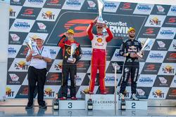 Podium: Race winner Scott McLaughlin, DJR Team Penske Ford, second place David Reynolds, Erebus Motorsport Holden, third place Shane van Gisbergen, Triple Eight Race Engineering Holden