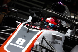 Romain Grosjean, Haas F1 Team VF-18, in the garage