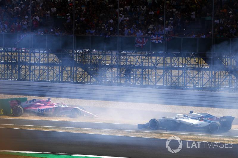 Sergio Perez, Force India VJM11, accidente Lance Stroll, Williams FW41