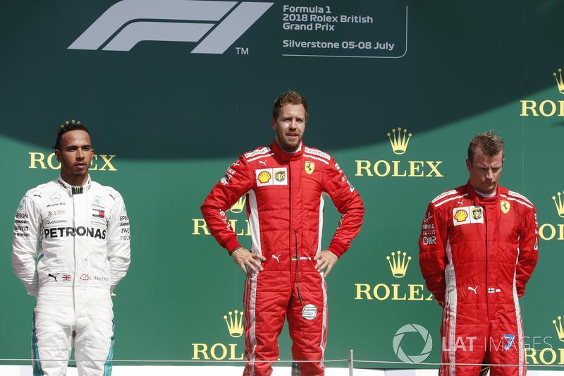 Podium: 1. Sebastian Vettel, 2. Lewis Hamilton, 3. Kimi Raikkonen