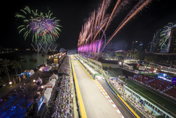 A spectacular fireworks display at the end of the race