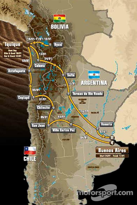 Il percorso che porterà i concorrenti in Argentina, Bolivia e Cile