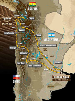The route, taking competitors through Argentina, Bolivia and Chile