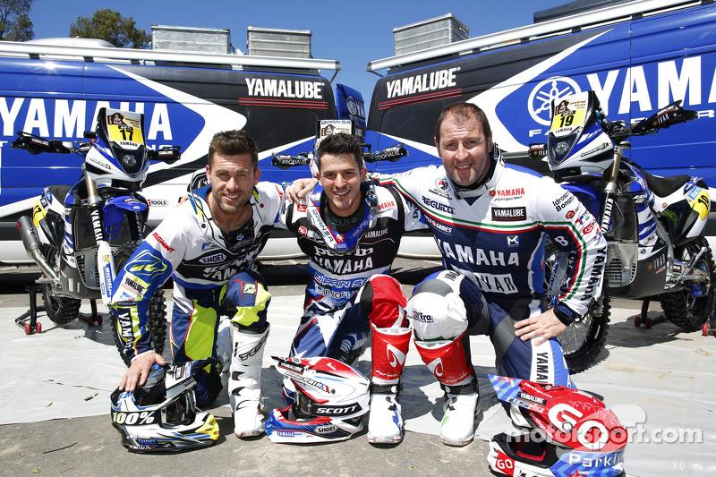 Yamaha riders Michael Metge, Olivier Pain, Alessandro Botturi