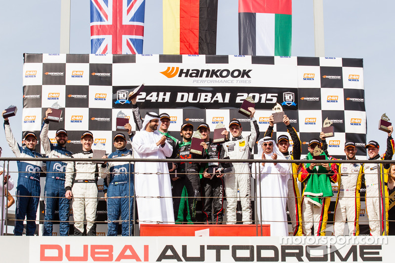 General podium: race winners Abdulaziz Al Faisal, Hubert Haupt, Yelmer Buurman, Oliver Webb, second