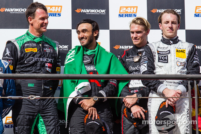 General podium: race winners Abdulaziz Al Faisal, Hubert Haupt, Yelmer Buurman, Oliver Webb
