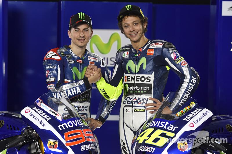 Valentino Rossi y Jorge Lorenzo, del Yamaha Factory Racing