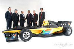 His Highness Sheikh Maktoum Hasher Maktoum Al Maktoum (UAE), CEO and President of A1 Grand Prix (thrd from left), Mr Tokyo Sexwale (RSA), the South African franchise partner, Stephen Watson (RSA) A1 Test Driver and Brian Menell (RSA) partner of A1 Grand P