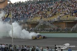 NASCAR Craftsman Truck Series 2004 champion Bobby Hamilton celebrates