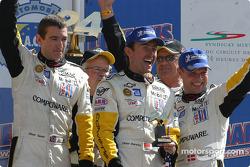 GTS podium: winners Olivier Gavin, Oliver Beretta and Jan Magnussen celebrate