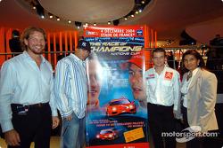 Fredrik Johnsson, Sébastien Loeb, DJ Cut Killer who will play at the ROC 2004 and Michèle Mouton