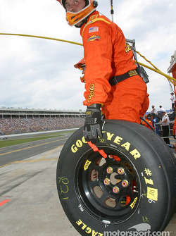 Reese's crew member waits for Kevin Harvick