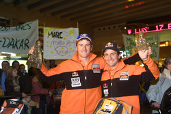 Isidre Esteve Pujol and Marc Coma celebrate back home in Barcelona