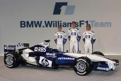 Nick Heidfeld, Mark Webber and Antonio Pizzonia with the new Williams BMW FW27