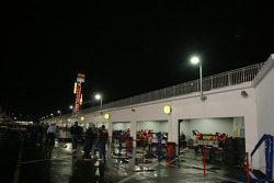 Garage area after night practice session