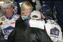 Victory lane: race winner Jimmie Johnson celebrates with Rick Hendrick