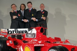 Luca di Montezemelo, Paolo Martinelli, Ross Brawn and Rory Byrne with the new Ferrrari F2005