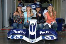 The girl band 'Bond' visits Williams-BMW garage