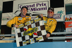 DP podium: overall and class winner Max Angelelli and Wayne Taylor celebrate
