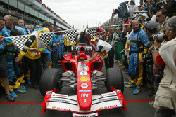 Car of Rubens Barrichello enters Parc Fermé