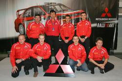 Mitsubishi press conference: Harri Rovanpera, Risto Pietilainen, Gilles Panizzi, Hervé Panizzi, Gianluigi Galli and Guido D'Amore