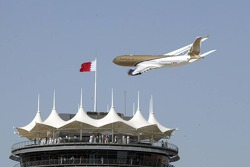 Flyover by a Gulf Air jetliner