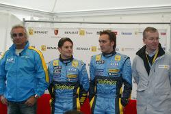 Flavio Briatore, Giancarlo Fisichella and Franck Montagny