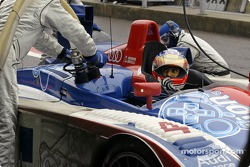 Fuel and tyre stop for Jean-Marc Gounon of the Audi Playstation Oreca team