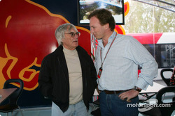 Bernie Ecclestone and Christian Horner in the Red Bull Racing hospitality area