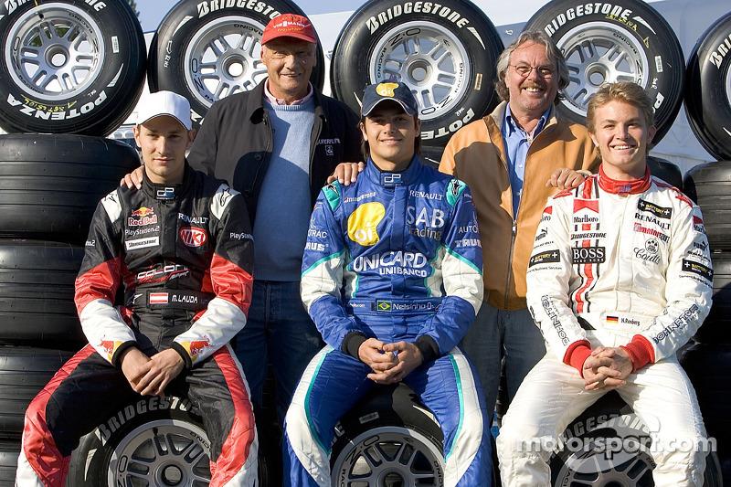 Los ex campeones del mundo Niki Lauda y Keke Rosberg con Mathias Lauda, Nelson A. Piquet y Nico Rosberg