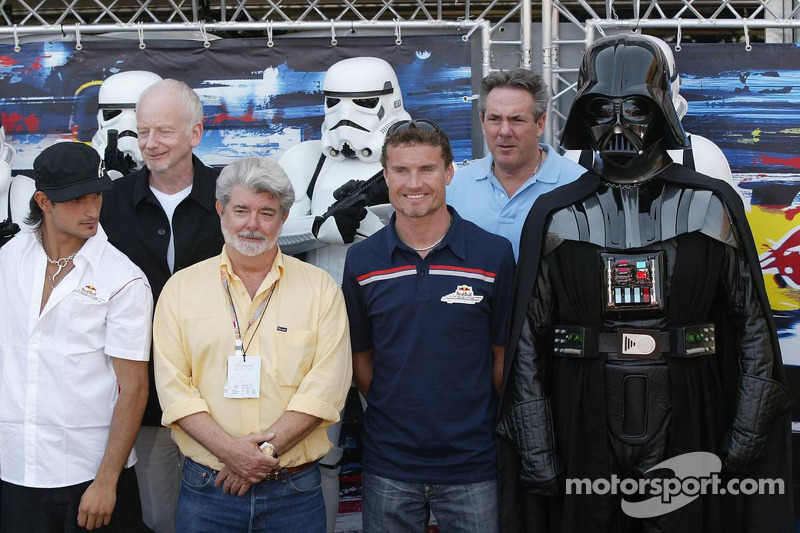 Vitantonio Liuzzi and David Coulthard with George Lucas and Darth Vader