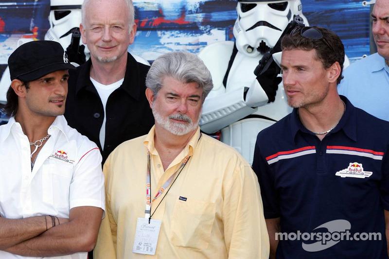 Vitantonio Liuzzi, George Lucas y David Coulthard