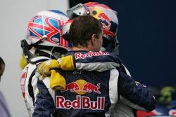 Jenson Button, Vitantonio Liuzzi and David Coulthard celebrate
