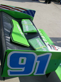 Jimmy Kite's spare wings sit on the pit row