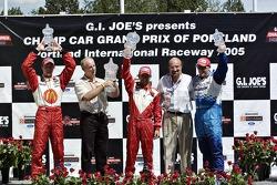 Cristiano da Matta, Sébastien Bourdais, Paul Tracy, Kevin Kalkhoven and Dan Pettit on the victory po