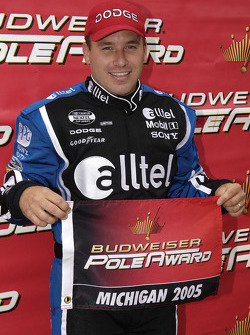 Pole winner Ryan Newman celebrates