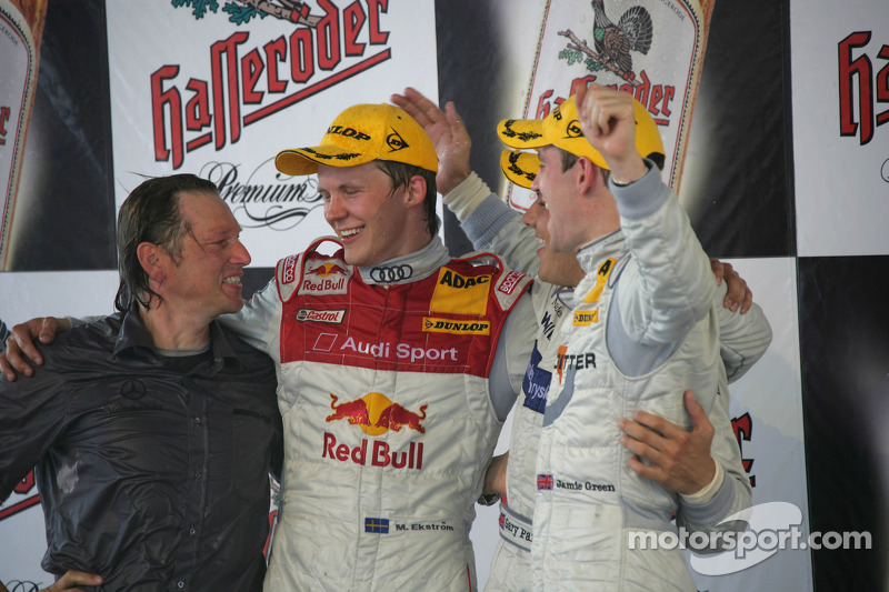 Podium: race winner Gary Paffett with Mattias Ekström and Jamie Green