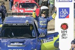 Podium: Petter Solberg celebrates third place finish