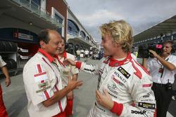 Pole winner Nico Rosberg celebrates