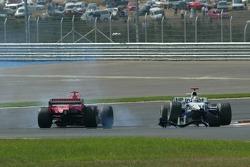 Crash of Mark Webber and Michael Schumacher