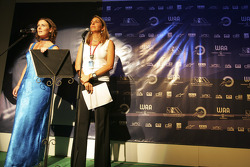 Leigh McKenzie with Nani Rodriguez on stage
