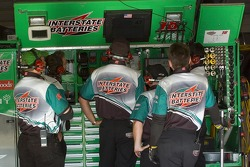 Bobby Labonte's team watches the lap times