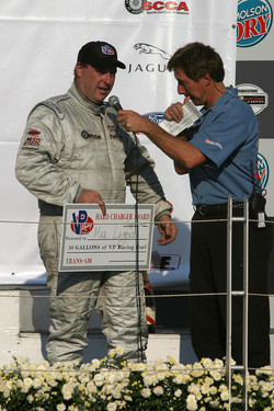 Max Lagod receiving Hard Charger award at Trans-Am racing in Montreal 2005