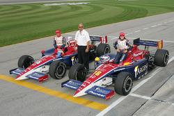 Front row: pole winner Danica Patrick and Buddy Rice with Bobby Rahal