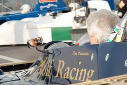 Dino Crescentini in the mirror of his 1977 Wolf Dallara Can Am