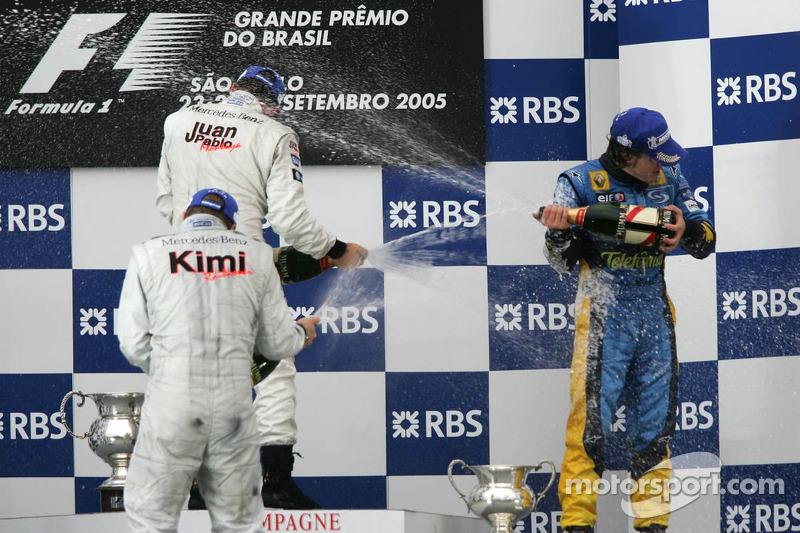 Podium: 1. Juan Pablo Montoya, McLaren; 2. Kimi Räikkönen; 3. Fernando Alonso, Renault