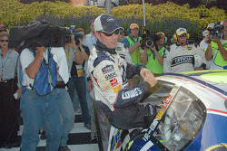 Jimmie Johnson climbs out of the car in Victory Lane