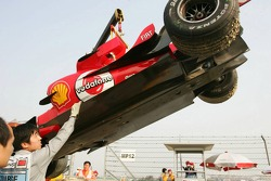 The Ferrari of Michael Schumacher after his spin